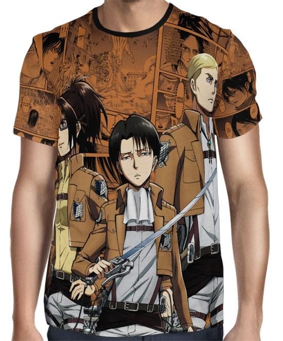 Camisa Attack on Titan Levi Hange Zoe e Reiner Exclusiva shingeki no kyojin Full Print