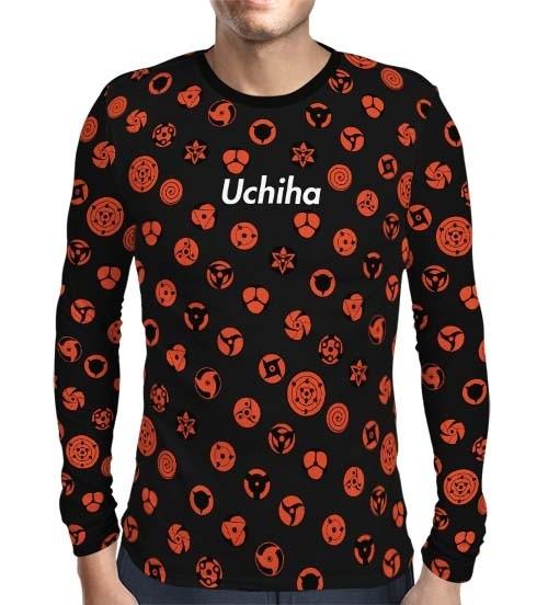 Camisa Manga Longa Print Black Uchiha Sharingans - Naruto