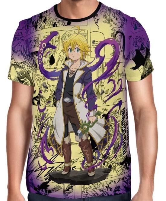 Camisa Full Print Purple Mangá Meliodas - Nanatsu no Taizai
