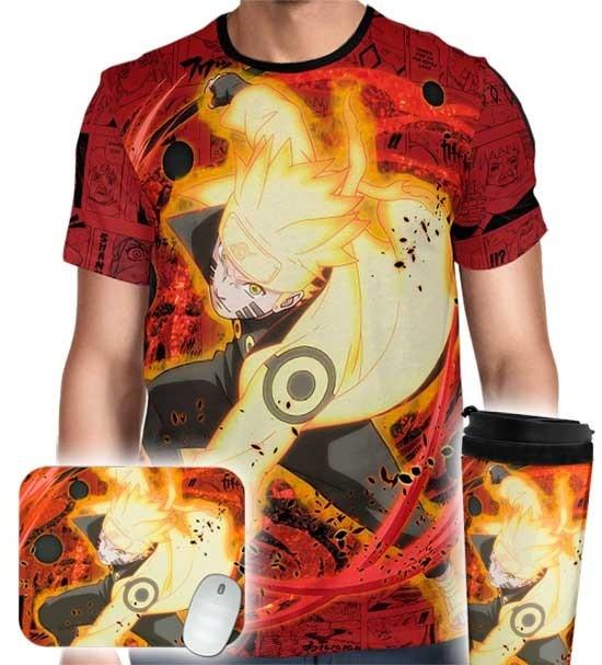 Kit Camisa Copo Mousepad - Naruto Sage Mode
