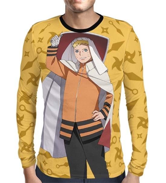 Camisa Manga Longa Color Print Naruto Seventh Hokage