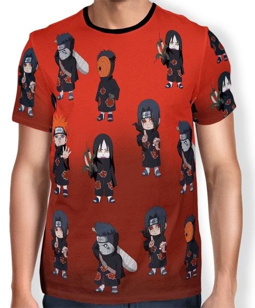 Camisa FULL Print Chibi Akatsuki - Naruto