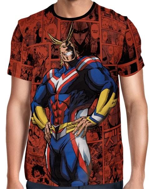 Camisa Full PRINT Red Mangá All Might - Boku No Hero Academia