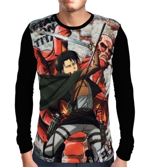 Camisa Manga Longa Levi Ackerman - Shingeki no Kyojin