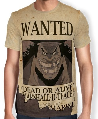 Camisa Full Print Wanted Barba Negra Marshal D Teach V1 - One Piece
