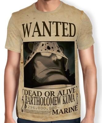 Camisa Full Print Wanted Bartholomew Kuma - One Piece