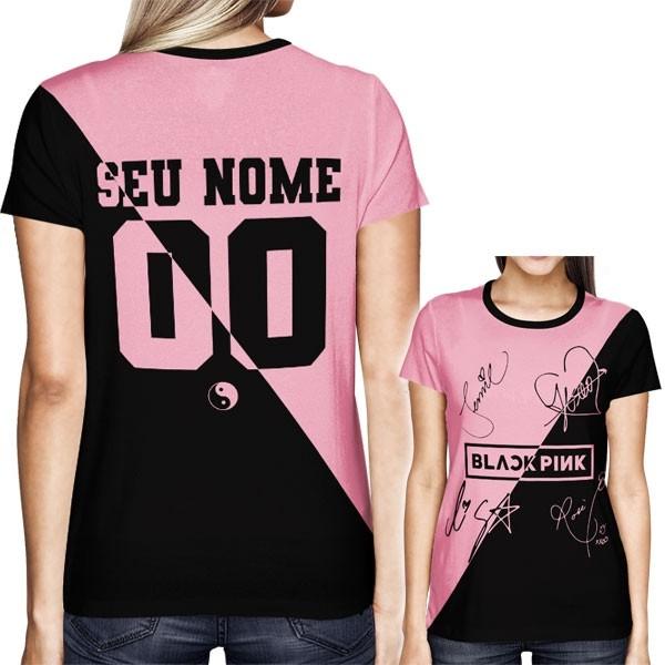 Camisa Full PRINT Blackpink - Autógrafos Preto/Rosa Especial - Personalizada - K-Pop