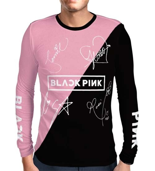 Camisa Manga Longa Print Blackpink - Nomes Preta/Rosa - K-Pop