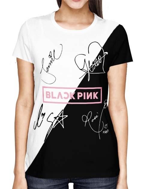 Camisa Full PRINT Blackpink - Nomes Preta/Branca Especial - K-Pop