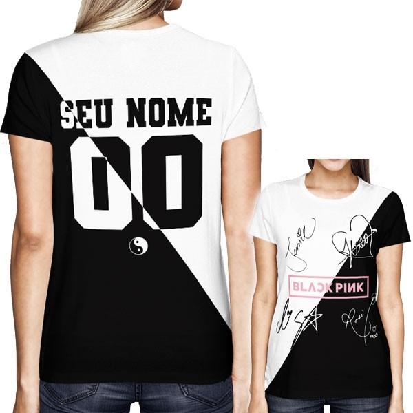 Camisa Full PRINT Blackpink - Autógrafos Preto/Branco Especial - Personalizada - K-Pop