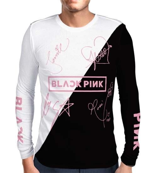 Camisa Manga Longa Print Blackpink - Nomes Preta/Branca - K-Pop
