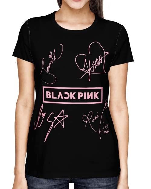 Camisa Full PRINT Blackpink - Nomes Preta - K-Pop