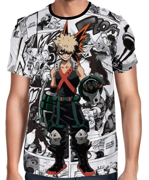 Camisa Full PRINT Mangá Bakugou Modelo 02 - Boku No Hero Academia