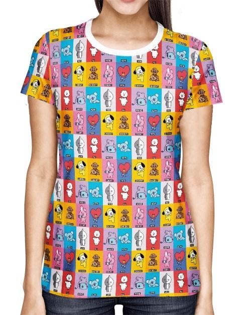 Camisa Full PRINT BTS - BT21 - Mascotes - Modelo 01 - K-Pop