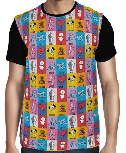 Camisa Full BTS - BT21 - Mascotes - Modelo 02 - K-Pop