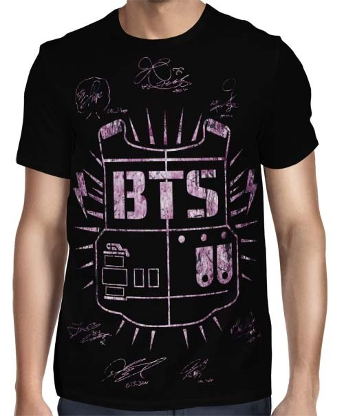 Camisa FULL BTS Classic Autographs Cherry Blossom - Só Frente - K-Pop