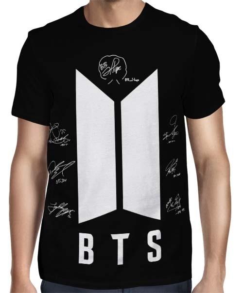 Camisa FULL BTS New Autographs Preta - Só Frente - K-Pop