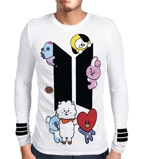 Camisa Manga Longa Print BTS - UNIVERSTAR BT21 Branca - K-Pop