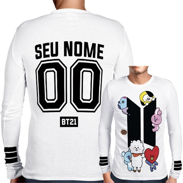 Camisa Manga Longa Print BTS - BT21 Personalizada Branca - K-Pop