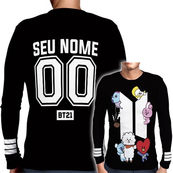 Camisa Manga Longa Print BTS - BT21 Personalizada Preta - K-Pop