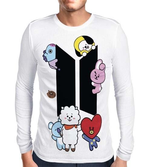 Camisa Manga Longa BTS - BT21- Branca - Só Frente - K-Pop