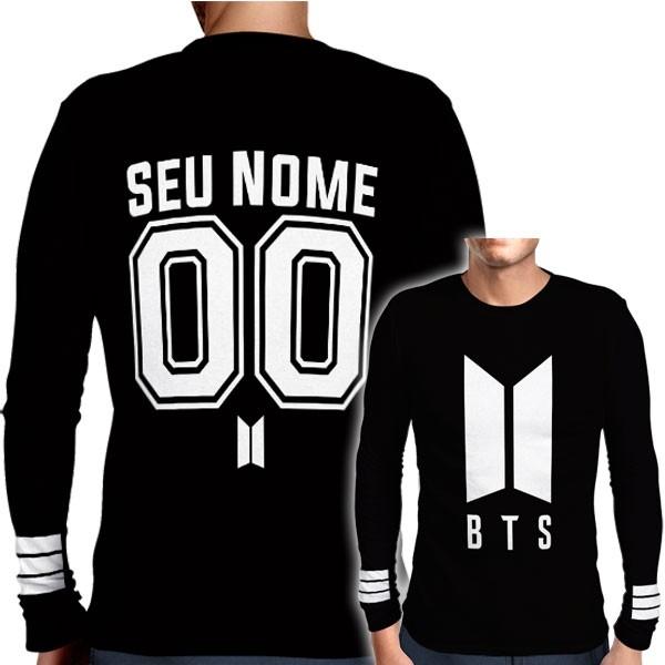 Camisa Manga Longa Print BTS - Logo Personalizada Normal - K-Pop