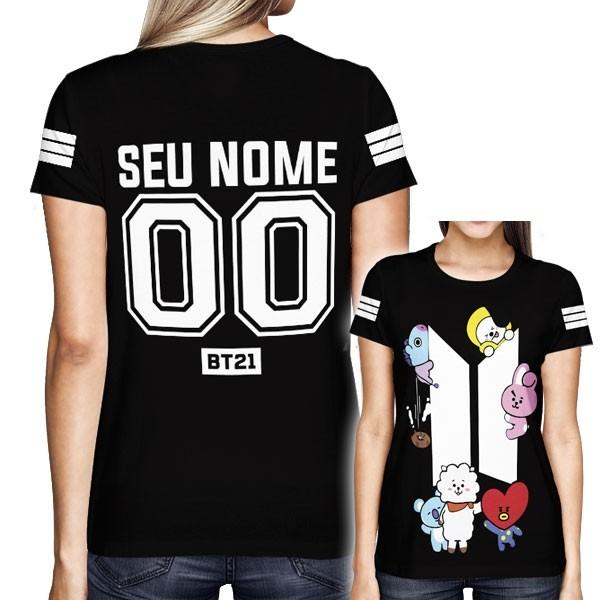 Camisa Full PRINT BTS - BT21 - Personalizada Preta - K-Pop