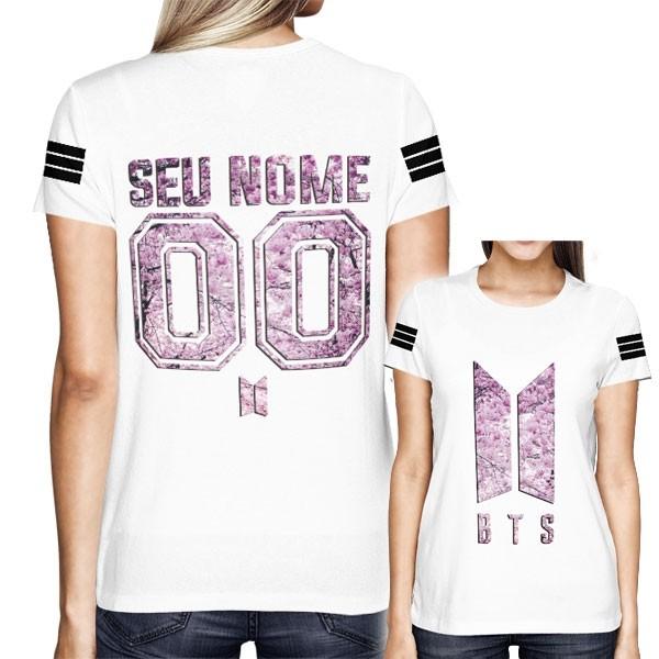 Camisa Full PRINT BTS - Personalizada Modelo Cherry Blossom Branca - K-Pop