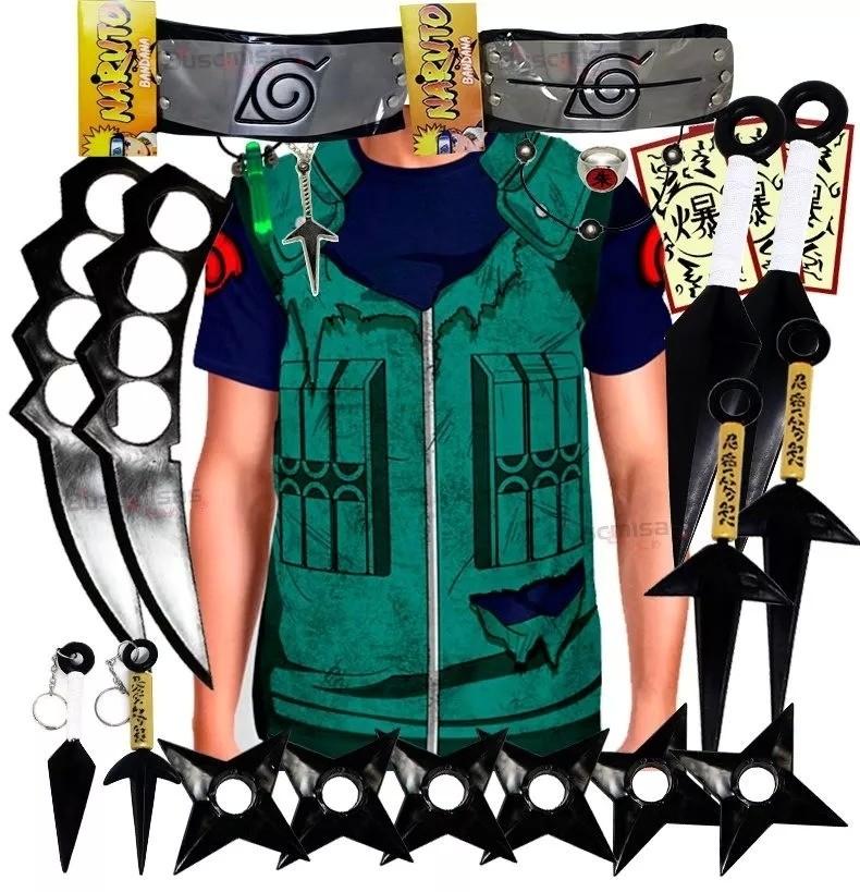 Kit Ninja Kunai Camisa Uniforme Kakashi Naruto Anel Colar Shuriken Bandana Itachi K64