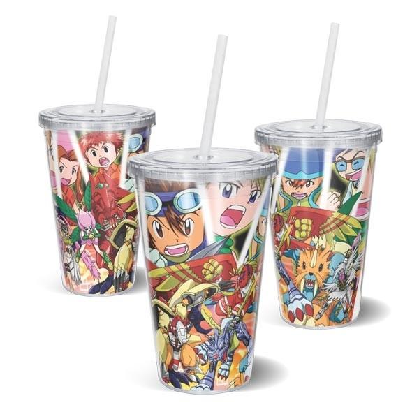 Copo Acrilico Quadrados Digimon - Digimon Adventure