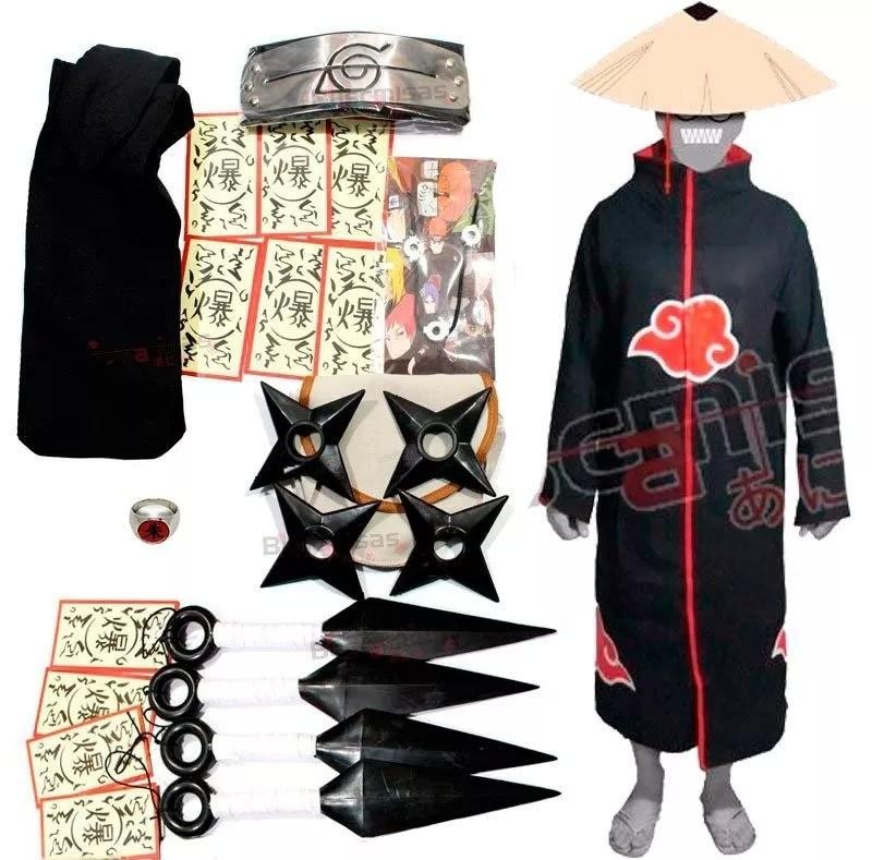 Manto Akatsuki com Kit Kunai e Anel Itachi A03