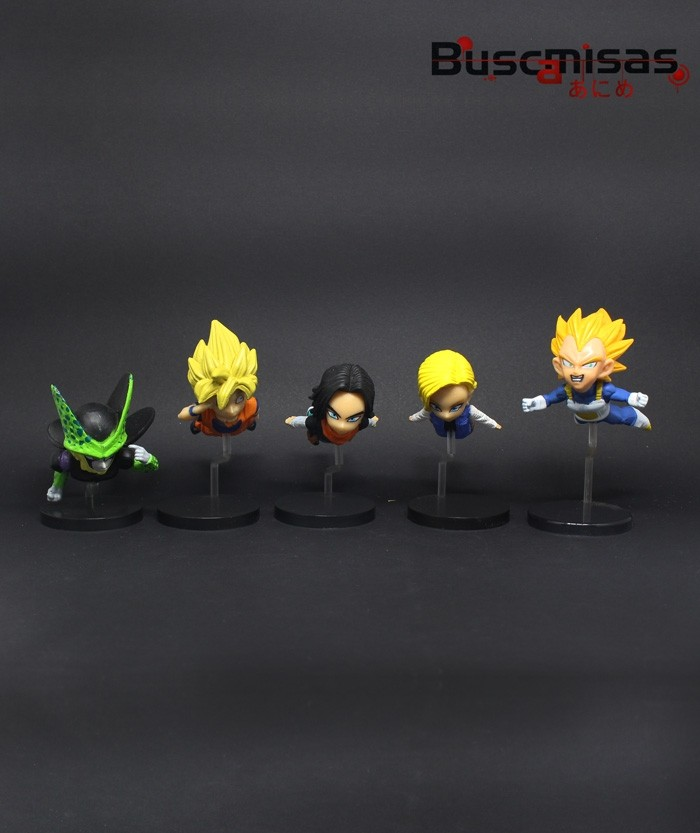 Kit 5 Action Figures Mini Dragon Ball Saga dos Androides