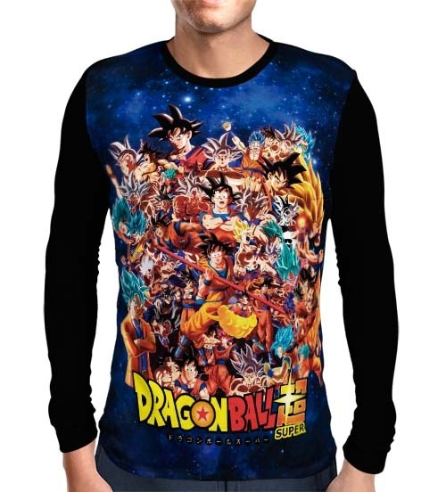 Camisa Manga Longa Goku Evolution - Dragon Ball Super