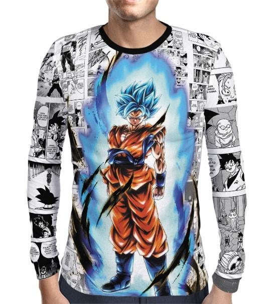 Camisa Manga Longa Mangá SSJ Blue Goku - Dragon Ball Super