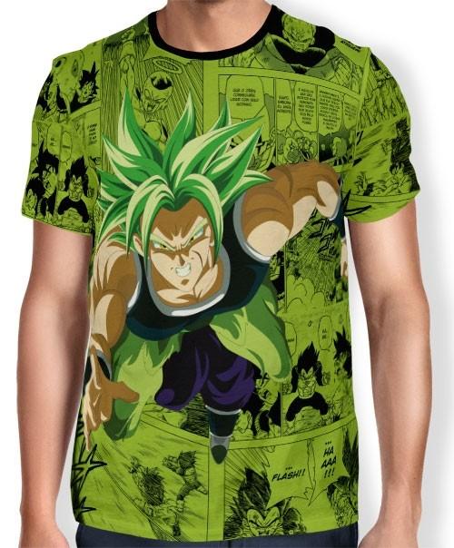 Camisa Full Print Green Mangá Broly - Dragon Ball Super