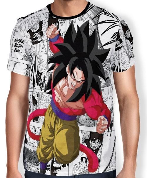 Camisa Full Print Mangá Goku SSJ4 - Dragon Ball Super