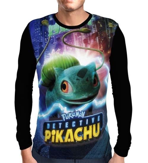 Camisa Manga Longa Bulbassauro - Pokemon Detetive Pikachu