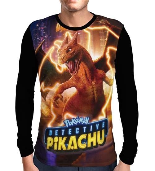 Camisa Manga Longa Charizard - Pokemon Detetive Pikachu
