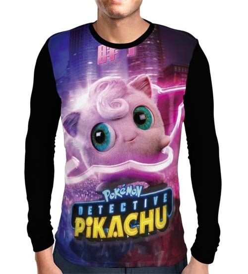 Camisa Manga Longa Jigglypuff - Pokemon Detetive Pikachu