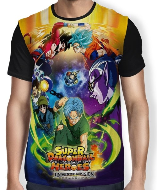Camisa FULL Dragon Ball Heroes - Goku - Trunks - Vegeta - Mai