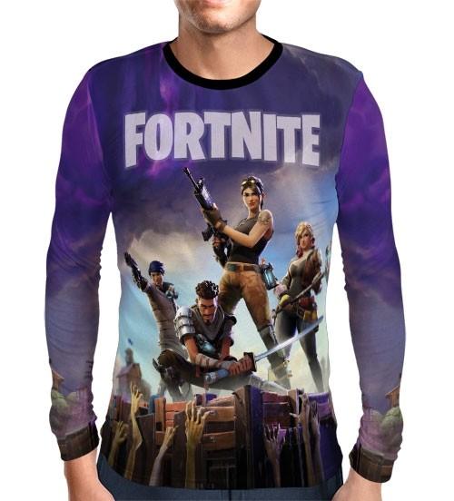 Camisa Manga Longa Fortnite - Preta