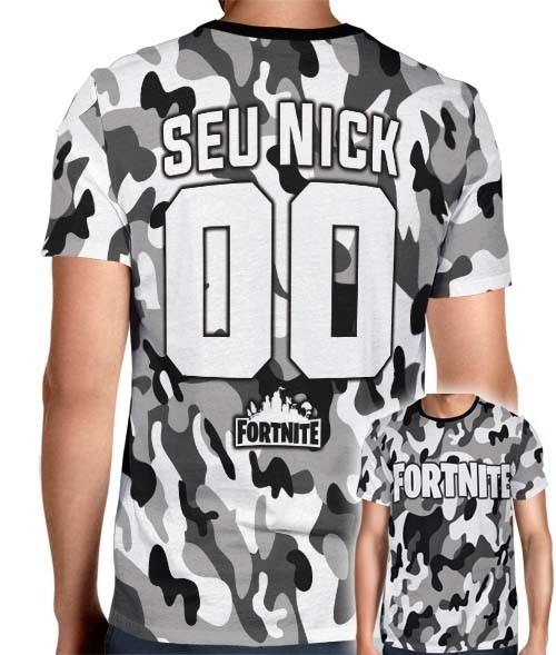 Camisa Full PRINT Camuflada Cinza Logo Fortnite - Personalizada Modelo Nick Name e Número