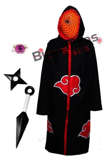 Manto Akatsuki com Capuz, Mascara, Kit Ninja e Anel Tobi A24