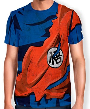 Camisa Full Print Uniforme - Kimono Goku Rasgado - Dragon ball