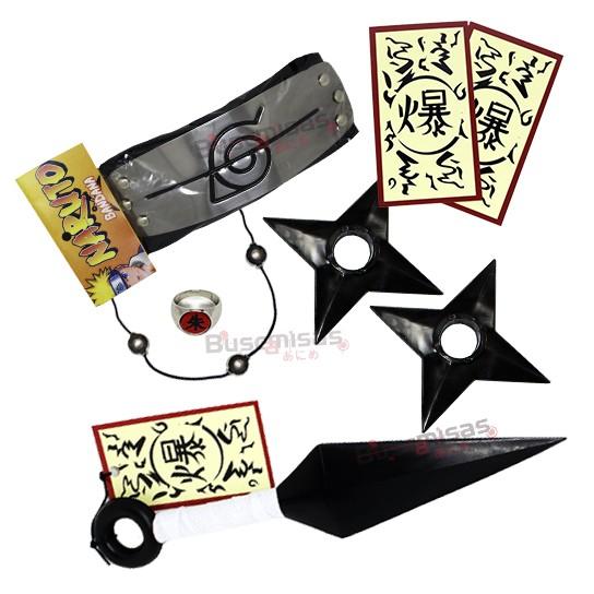 Kit Ninja Kunai Itachi Mega Anel Colar Shuriken Bandana