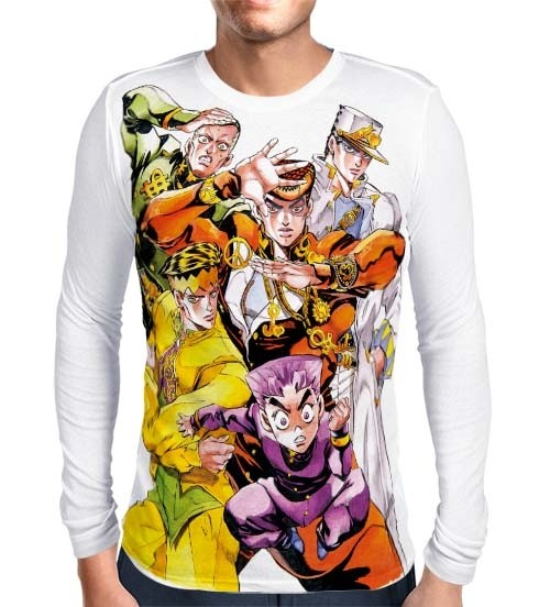 Camisa Manga Longa Branca JoJo's Bizarre Adventure Part 4: Diamond is Unbreakable
