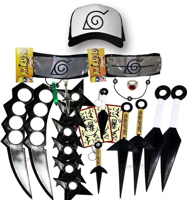 Kit Ninja Kunai Naruto Anel Colar Shuriken Bandana Boné Konoha K99