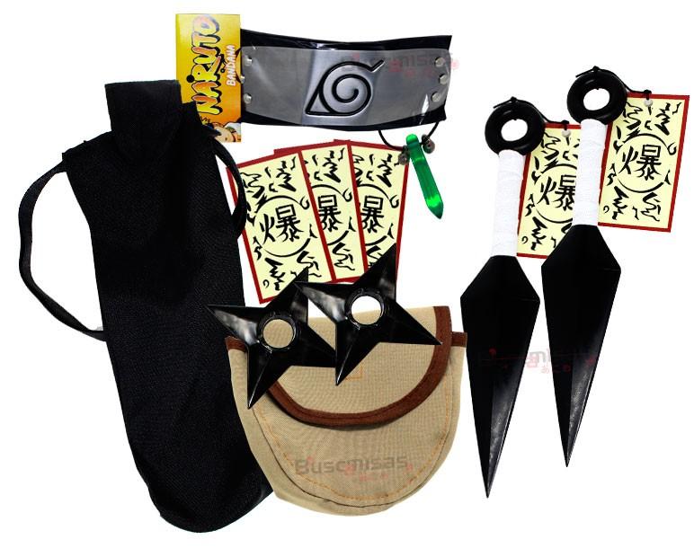Kit Ninja Kunai Naruto Verde Shuriken Bandana Tsunade K-A