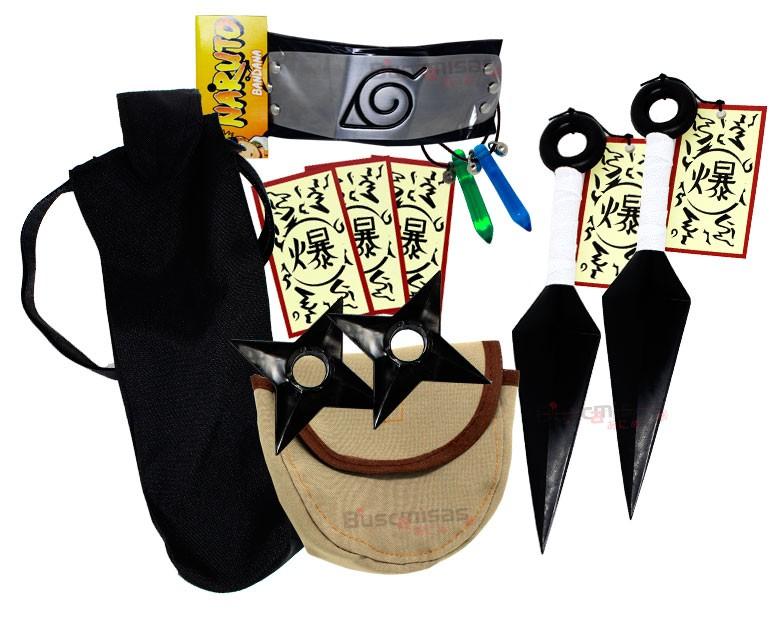 Kit Ninja Kunai Naruto 2 Colares Shuriken Bandana Tsunade K-C