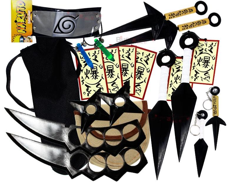 Kit Ninja Kunai Naruto 2 Colares Shuriken Bandana Minato K-D